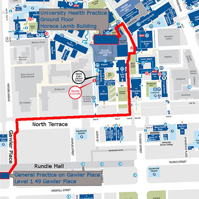 Directions from Uinversity Health to Gawler Place Medical Practice